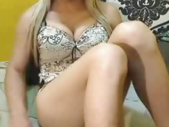 Busty Blonde Tranny Jerks Off
