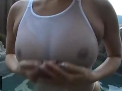 japanese girl with big boobs sucking cock in water