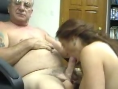 Young girl rides an old man's big cock