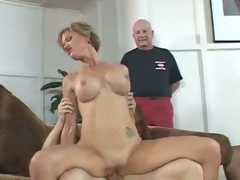 Busty wife fucked wildly in front of husband