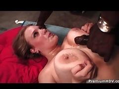 Big minx with massive tits enjoys interracial sex