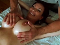 Diamond Foxxx have a soft massage on her fat boobs