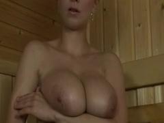 With hot busty floozy in sauna