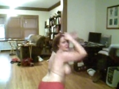 Fat girl dancing up costume and stripping