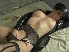 Busty policewoman masturbating in prison