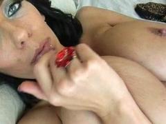 Hot breasty brunette masturbating